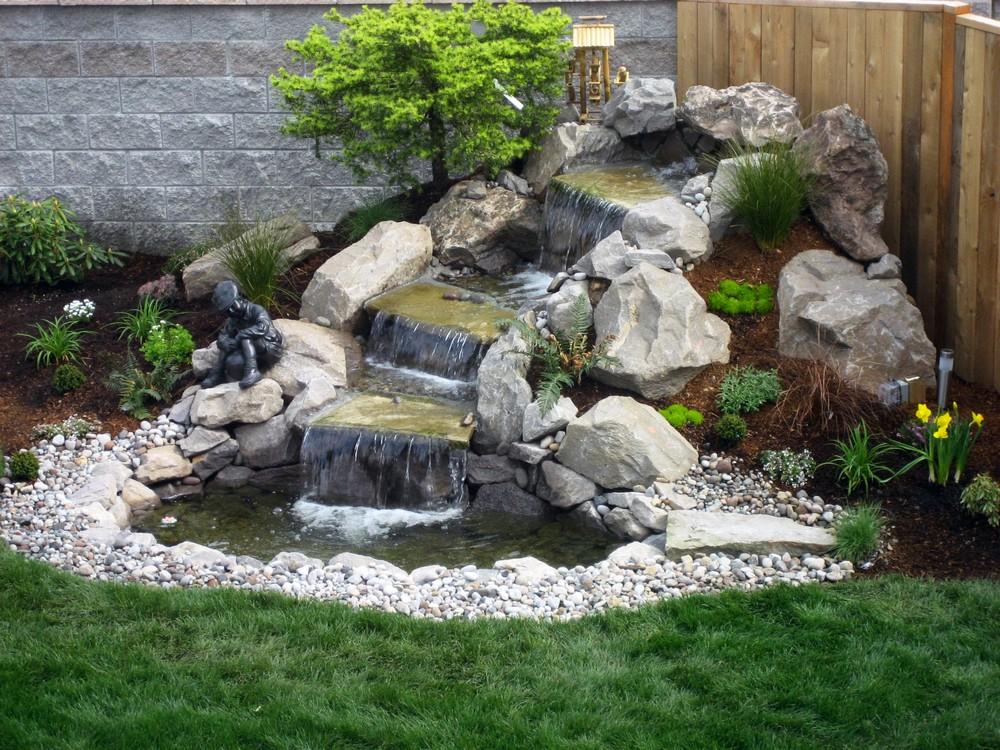 Устройство декоративного водоема и пруда